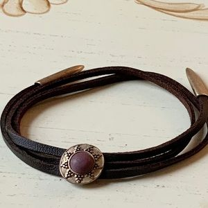 Double Layer Brown Leather Bracelet Medallion